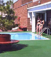 Image: Two residents test pool